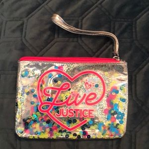 Justice sparkly zipper pouch!